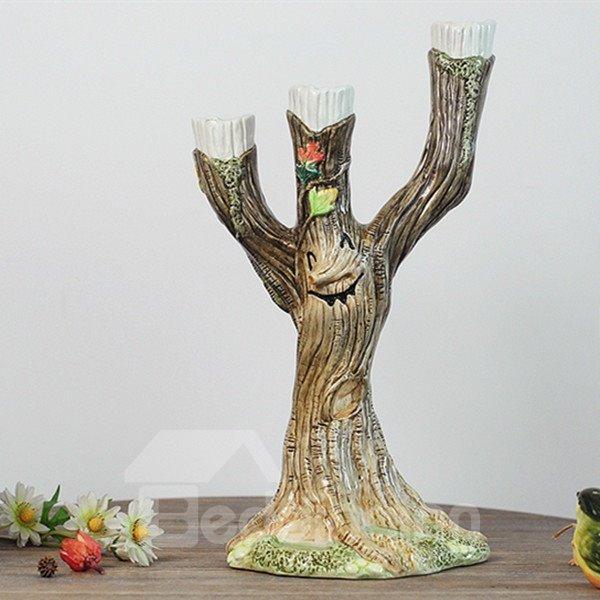 Amusing Creative Ceramic Smile Face Pattern Tree Shape Candles Holders