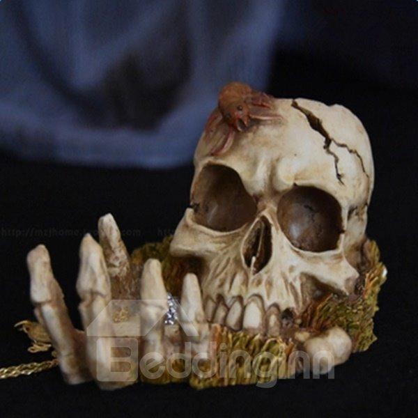 Fearful Emulational Resin Skull Shape Halloween Desktop Decoration
