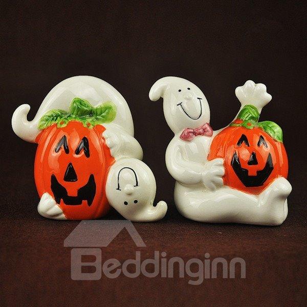 White Ceramic Ghost and Pumpkin Shape Halloween Desktop Decoration