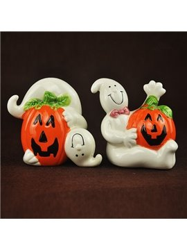 White Ceramic Ghost and Pumpkin Shape Halloween Desktop Decoration