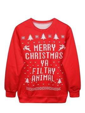 Modern Christmas Style Long Sleeve Letters Pattern 3D Painted Hoodie