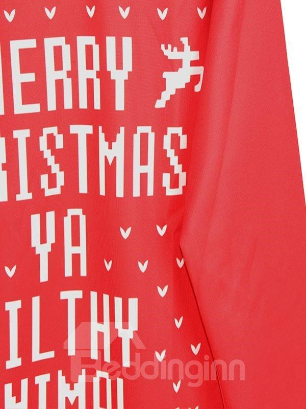 Modern Christmas Style Long Sleeve Letters Pattern 3D Painted Hoodie