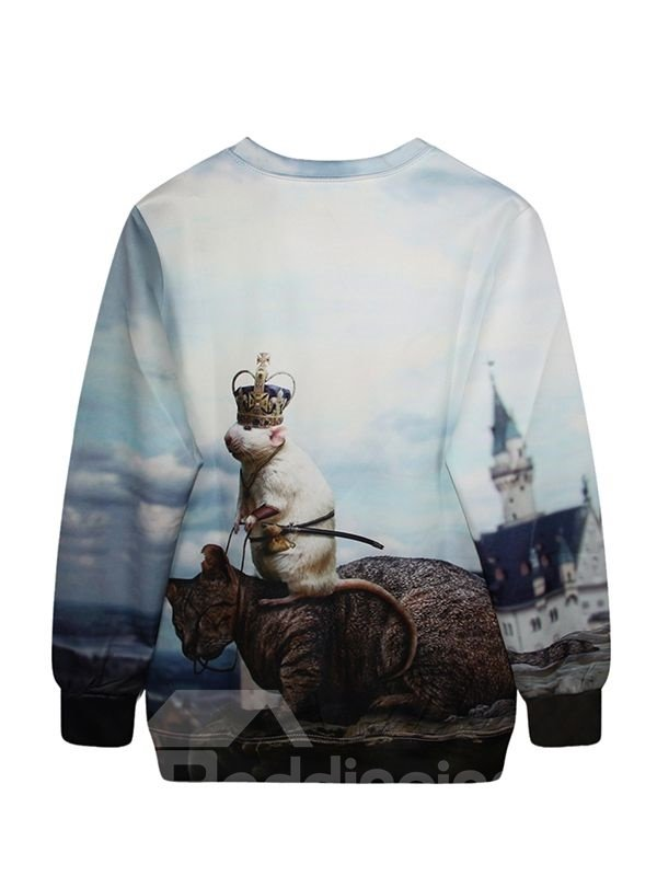 Christmas Style Long Sleeve Mouse with Cat Pattern 3D Painted Hoodie