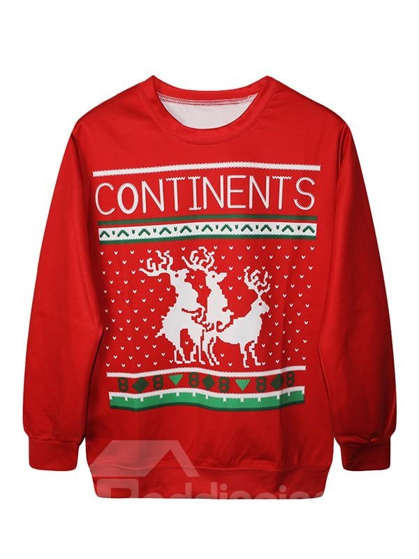 Christmas Style Long Sleeve Elks Pattern Red 3D Painted Hoodie