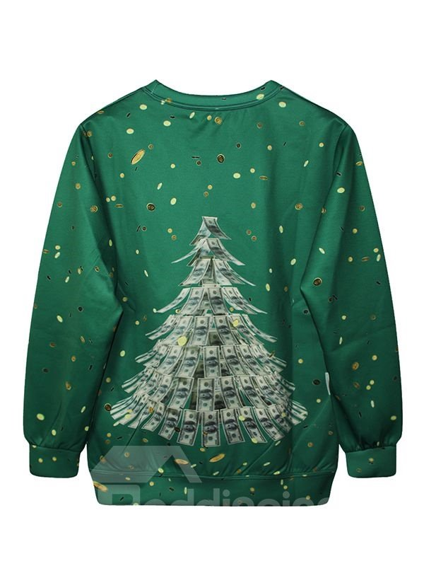 Christmas Style Long Sleeve Christmas Tree Pattern Green 3D Painted Hoodie