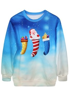 Christmas Style Long Sleeve Gift Pattern 3D Painted Hoodie