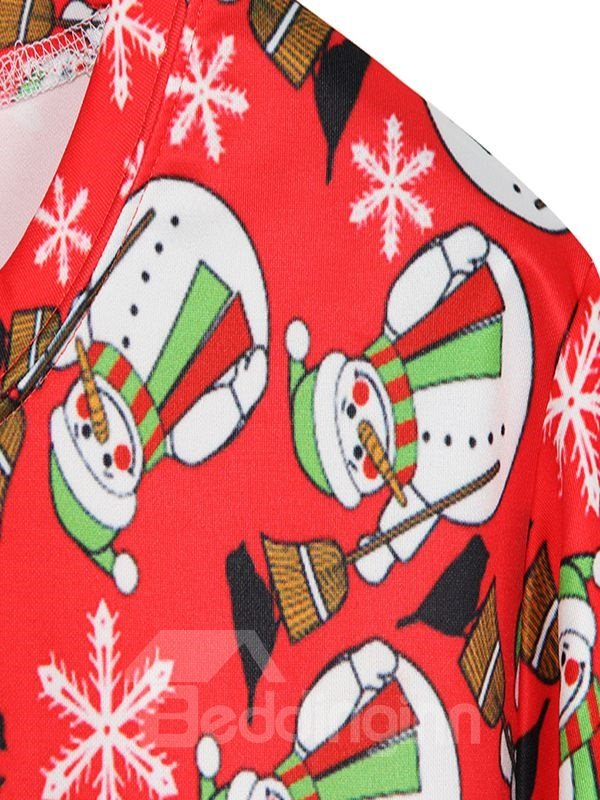 Cute Christmas Style Long Sleeve Snowman Pattern 3D Painted Hoodie