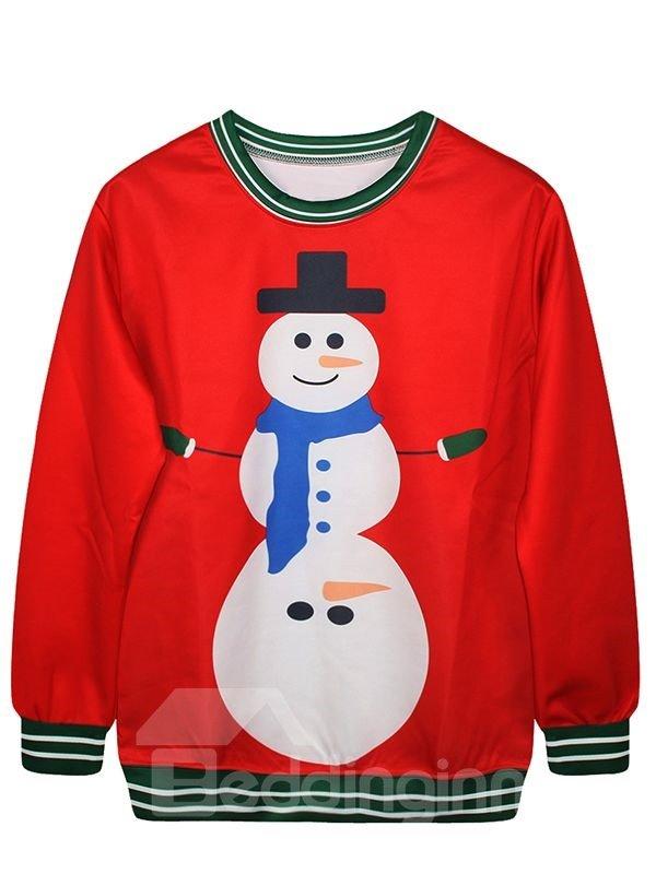 Christmas Style Long Sleeve Snowman Pattern 3D Painted Hoodie