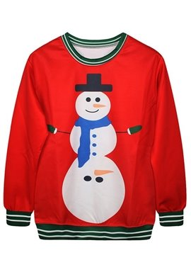 Christmas Style Long Sleeve Snowman Pattern 3D Painted Hoodie