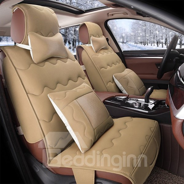 Solid Colorful Style With Dynamic Wave Pattern Universal Five Seven Car Seat Cover