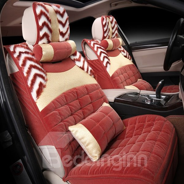 Popular Comfortable Velvet Material With Tiger Line Universal Five Seven Car Seat Cover