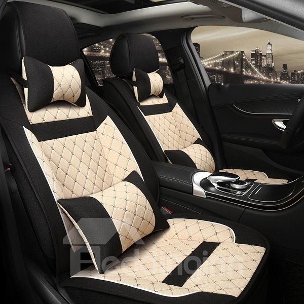 Contrast Color Design With Cool Grid Style Universal Five Seven Car Seat Cover