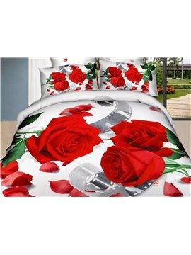 Elegant Red Rose Printed 4-Piece Cotton 3D Duvet Cover Sets
