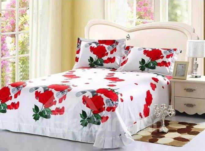 Elegant Red Rose Printed 4-Piece Cotton 3D Duvet Cover Sets