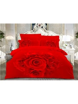 Hot Red Rose Printed 4-Piece Cotton 3D Duvet Cover Sets