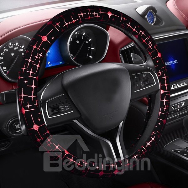Floral Style With Fashional Simple Star Leather Car Steering Wheel Cover