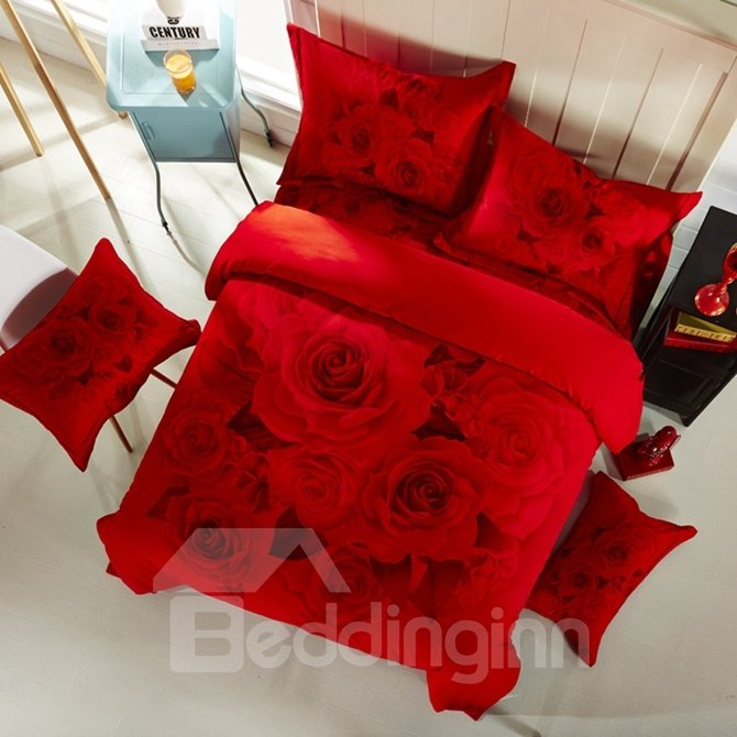 Wonderful Red Rose Print 4-Piece Cotton 3D Duvet Cover Sets
