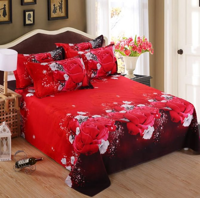 Stunning Red Rose 3D Printed 4-Piece Polyester Duvet Cover Sets