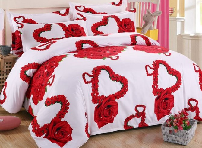 Beautiful Heart-shaped Red Rose Print 4-Piece Polyester Duvet Cover Sets 12421414