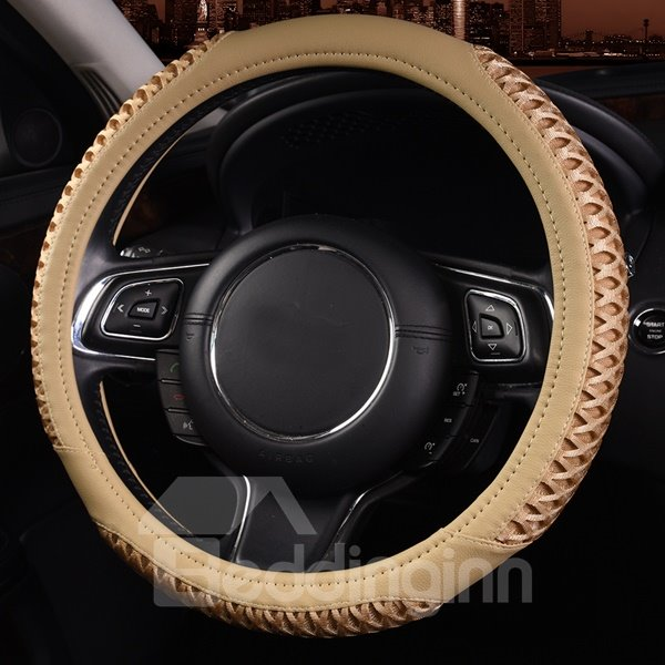 Attractive Solid With Deep Friction Leather Car Steering Wheel Cover
