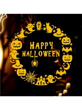 Round Happy Halloween Pumpkin Pattern Home Decoration Wall Sticker