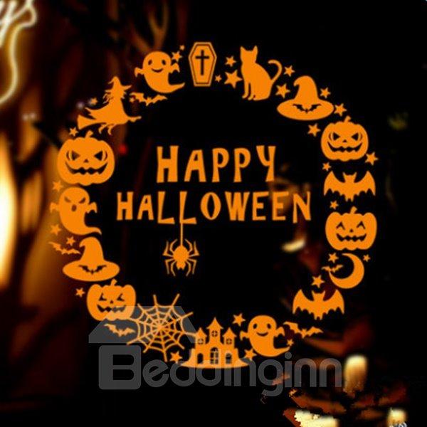 Round Happy Halloween Pumpkin Pattern Home Decoration Wall Sticker