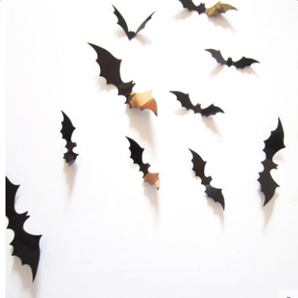 Black Halloween Decoration 12 Pieces Bat Shape 3D Wall Stickers