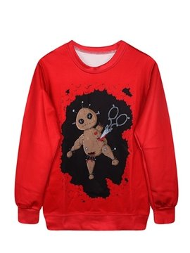 Long Sleeve Puppet Pattern Red 3D Painted Hoodie