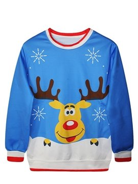 Christmas Style Long Sleeve Cartoon Elk Pattern 3D Painted Hoodie
