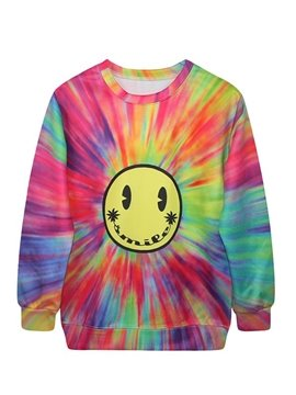 Multicolor Long Sleeve Smile Pattern 3D Painted Hoodie