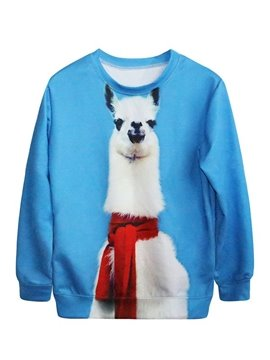Cute Long Sleeve Alpaca Pattern Blue 3D Painted Hoodie