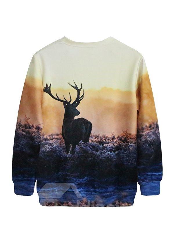 Glamorous Long Sleeve Deer Pattern 3D Painted Hoodie