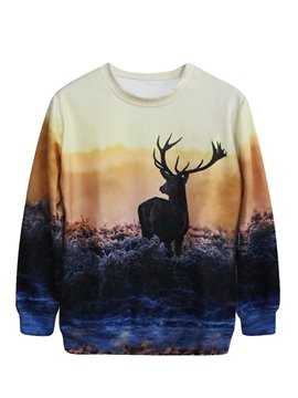 Glamorous Long Sleeve Deer Pattern 3D Painted Hoodie