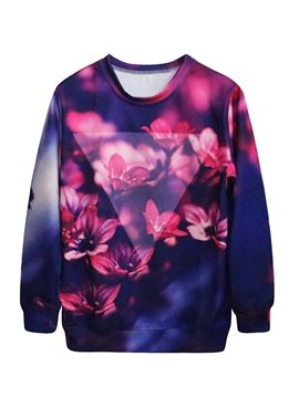 Charming Long Sleeve Floral Pattern 3D Painted Hoodie