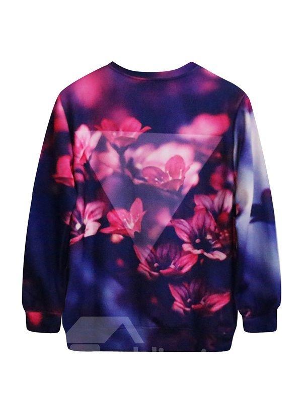 Charming Long Sleeve Floral Pattern 3D Painted Hoodie