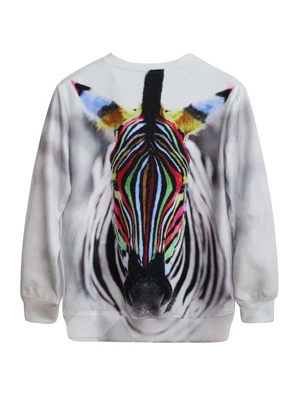Cool Long Sleeve Zebra Pattern 3D Painted Hoodie