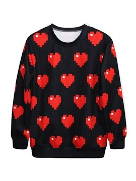 Super Long Sleeve Sweetheart Pattern Black 3D Painted Hoodie