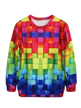 Stunning Long Sleeve Multicolor Plaid Pattern 3D Painted Hoodie