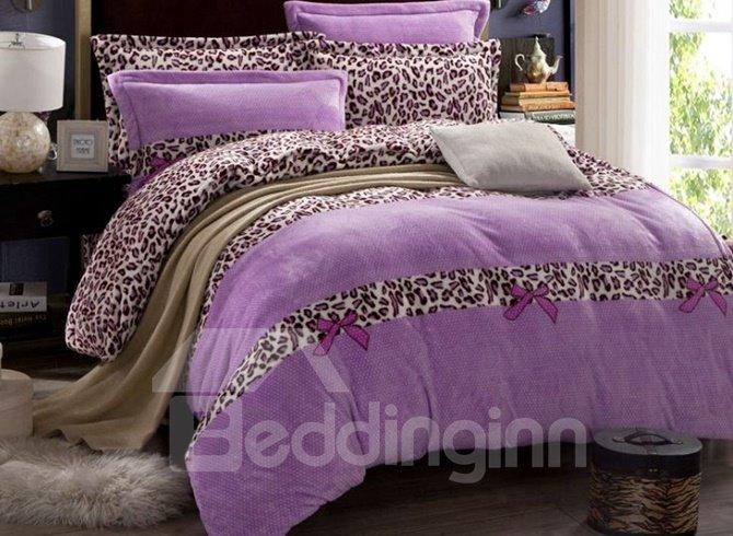 Princess Style Leopard Print Purple 4-Piece Flannel Duvet Cover Sets