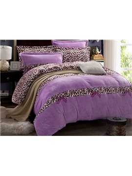 Princess Style Leopard Print Purple 4-Piece Flannel Duvet Cover Sets