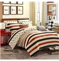 Concise Stripe and Polka Dot Print 4-Piece Flannel Duvet Cover Sets