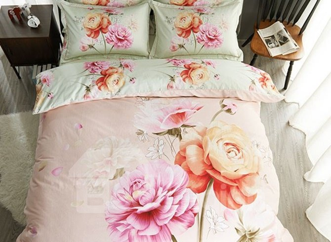 Likable Peony and Rose Print 4-Piece Duvet Cover Sets