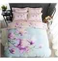 Elegant Purple Magnolia Print 4-Piece Cotton Duvet Cover Sets