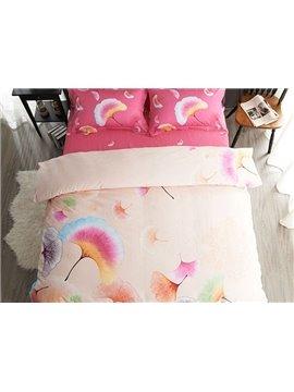 Adorable Ginkgo Leaves Print 4-Piece Cotton Duvet Cover Sets