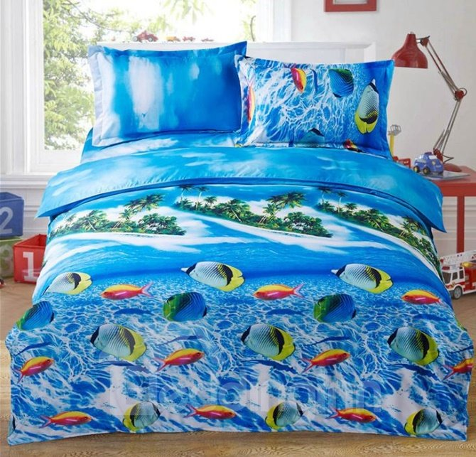 Beautiful Tropical Fish Print 4-Piece Polyester Duvet Cover Sets