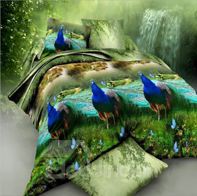 Noble 3D Peacock Printed 4-Piece Polyester Duvet Cover Sets