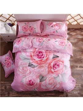 Pink 3D Rose Printed 4-Piece Cotton Duvet Cover Sets