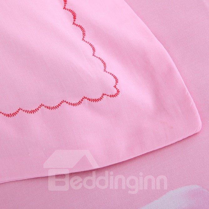 Pink 3D Rose Printed 4-Piece Cotton Duvet Cover Sets