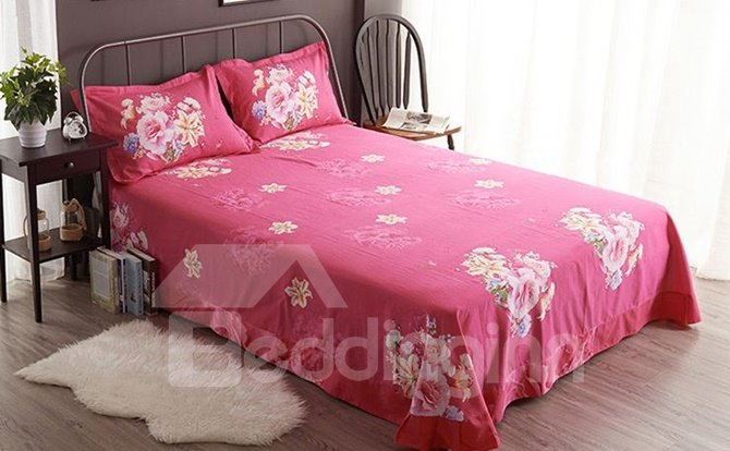 Charming Rose and Lily 3D Printed 4-Piece Cotton Duvet Cover Sets
