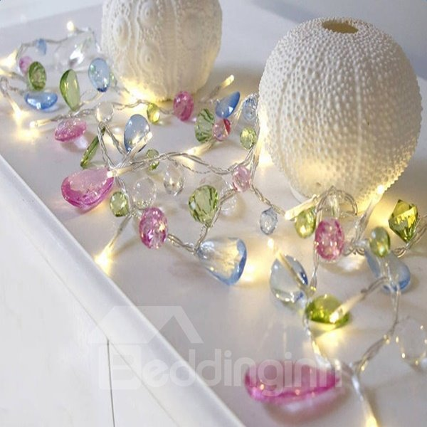 Artificial Colorful Crystal 3.2 Feet Length 10 Bulbs LED String Lights